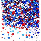 Independence National Day Patriotic Party Confetti - Twinkle Stars Metallic Table Scatter Confetti Sequins 4th of July Presidents Day Birthday Party Sprinkles Confetti Decorations, 60g