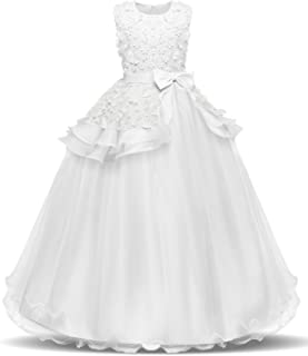 574477cbf7d2 NNJXD Girl Sleeveless Embroidery Princess Pageant Dresses Kids Prom Ball  Gown