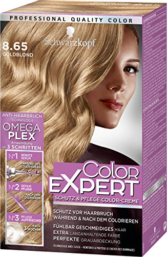 Schwarzkopf Color Expert Intensiv-Pflege Color-Creme, 8.65 Goldblond Stufe 3, 3er Pack (3 x 167 ml)