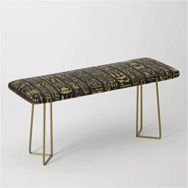 Egyptian Hieroglyphs Vintage Gold On Black by Creativemotions on Bench/Ottoman - Gold