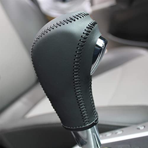 Loncky Black Genuine Leather Gear Shift Knob Cover for 2011 2012 2013 2014 2015 Chevrolet Cruze