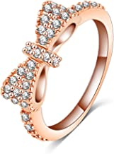 LuckyWeng Cute Bow Knot 18K Rose Gold Fashion CZ Engagement Wedding Rings for Girls Women, Size 6 7 8 9