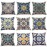 WAZA Set di 9 federe per cuscino in morbido lino, quadrate, per...