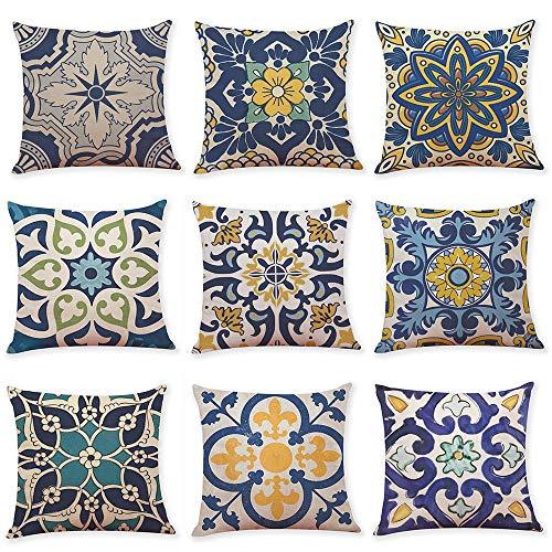 WAZA Set di 9 federe per cuscino in morbido lino, quadrate, per divano, letto, auto, stile moderno, 45 x 45 cm (Damask)