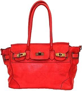BZNA Bag Tom rot vintage Italy Lange Schultergriffe abnehmbarer langer Schultergurt Designer Business Damen Handtasche Led...