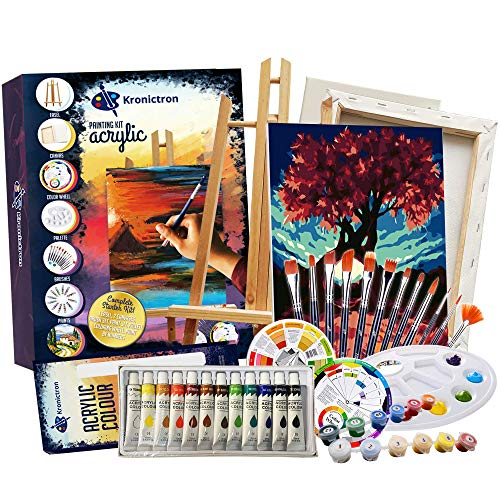 KRONICTRON Painting Kits for Adults and Kids Plus Paint by Numbers (Fall Color) | 12 Acrylic Paint Set, 2 Cotton Canvas Set, 1 Table Easel, Color Wheel, Palette & Brushes