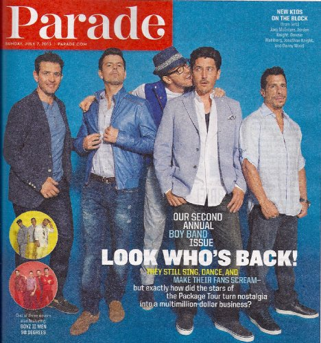 New Kids on the Block, Joey McIntyre, Jordan Knight, Second Annual Boy Band Issue, Gabriel Macht - July 7, 2013 Parade Magazine