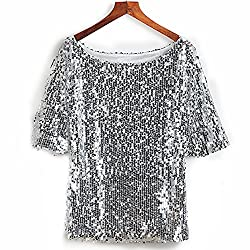Silver Sequin Cocktail Glitter Plus Size T-Shirt