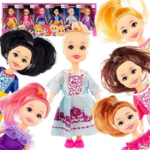 Kinderplay Set von 6 bunten Puppen - Mode Puppenhaus Puppen, Prinzessinnen für das Puppenhaus, Puppenhaus Figuren, KP1617
