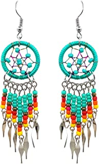 Handmade Native American Style Tribal Dream Catcher Long Beaded Dangle Earrings