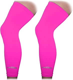 COOLOMG 1 Pair Non Slip Compression Leg Knee Long Sleeves for Sport Football Basketball Cycling Strech Adult Child Size XX...