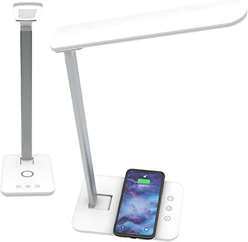 Led Desk lamp with QI Wireless Smart Charger. Home Office Bedside Table Night Light lamp. Dimmable Brightness 3 Lighting Color Changing Modes and Touch Control. (Pack of 2)