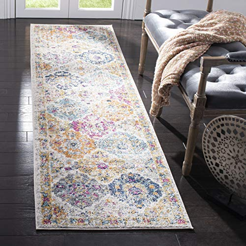 Safavieh Madison Collection MAD611B Boho Chic Floral Medallion Trellis Distressed Non-Shedding Stain Resistant Living Room Bedroom Runner, 23 x 6 , Cream / Multi