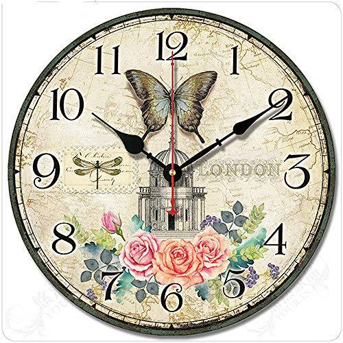 Reloj Reloj De Pared Restaurante Salón De Belleza Corredor Estudio Estudio Mudo Reloj Estudiantil Decoración De Pared Clásica Simple 10 Pulgadas Rosa Amarilla Brillante 007 Versión De Actualización