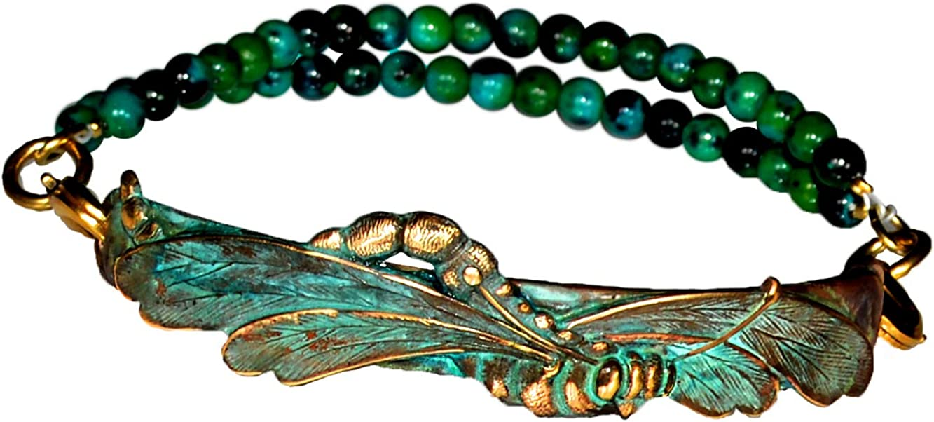 Verdigris Patina Solid Brass Art Nouveau Dragonfly Small Interchangeable Rockband Bracelet - Chrysocolla