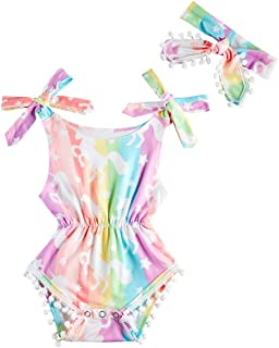 uideazone Newborn Baby Girls Rompers Infant Jumpsuit Pompom Tassel Bodysuit Sleeveless Playsuit with Headband 0-18M