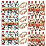 60pcs Pinzas De Madera Navidad Mini Clips Adorno de Navidad para Fotos Bolsas Fiesta Boda Papel Fotográfico Artesanía Diy con Cuerda Yute - Papá Noel + Oso de Navidad
