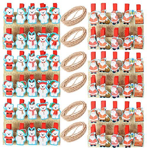 60 Stück Weihnachten Klammern Deko Holzklammern 34 * 6.5mm + 6 Stück Juteschnur mini Klammern Wäscheklammern Dekoklammern Fotoklammern Zierklammern für Weihnachtsdeko Adventskalender