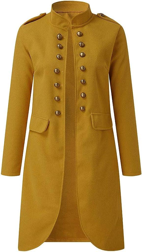 aihihe Plus Size Vintage Coats Jackets for Women Long Coat Double Breasted Flare Windbreaker Outwear Warm Winter Yellow