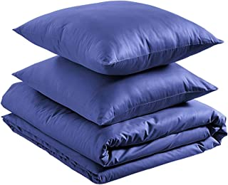 Amazon Basics - Juego de funda nórdica 100% algodón supersuave - 200 x 200 cm / 65 x 65 cm, Azul marino