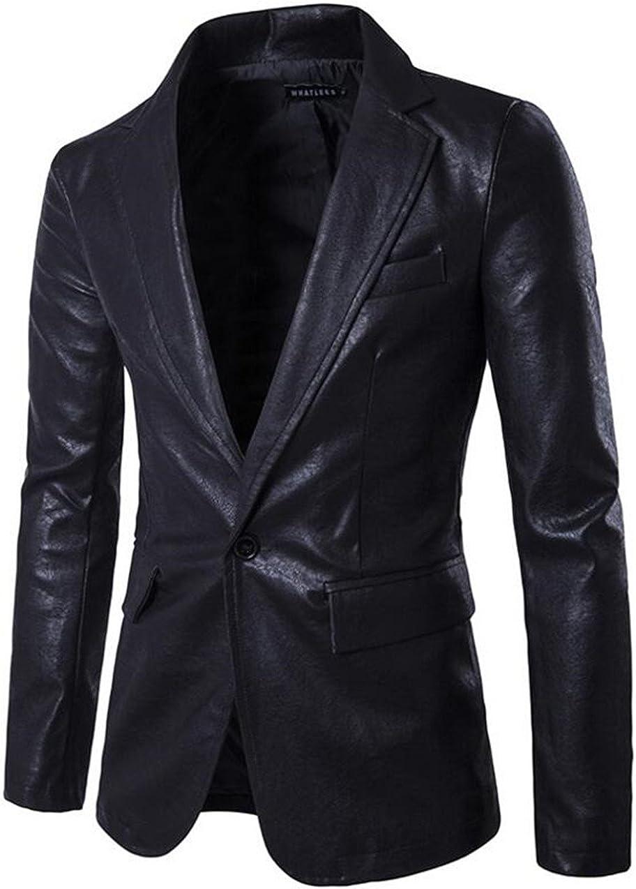 XIUWU Men's One Button PU Pleather Jackets Slim Fit Blazer Coats