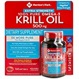 Member's Mark Extra Strength Omega-3 Krill Oil 500 mg Dietary Supplement: 160 Softgels