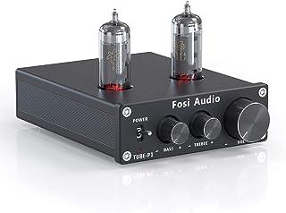 Fosi Audio P1 Tube Pre-Amplifier Mini Hi-Fi Stereo Buffer Preamp 6J1 Valve & Vacuum Pre-amp with Treble & Bass Tone Contro...