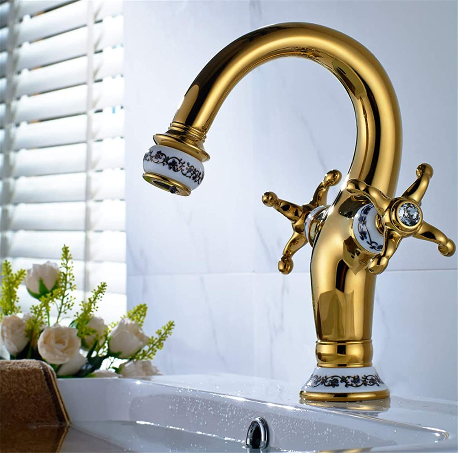 Basin Mixer Tap Bath Fixtures Wash Basinsinkkitchen All Copper gold-Plated bluee and White Porcelain Double Handed Hot and Cold Bathroom Bathtub Faucet gold Ceramic Washbasin Faucet