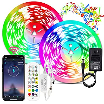 BIHRTC Led Strip Lights 32.8ft RGB Led Lights Strip 300leds 5050 Color Changing Flexible Led Tape Light with Remote Music Sync App Control Power Supply for Bedroom Smart Home Party Decoration