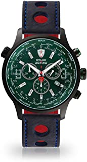 DETOMASO AURINO Racing Mens Watch Chronograph Analogue Quartz Blue Racing Leather Strap Green Dial DT1061-N-834