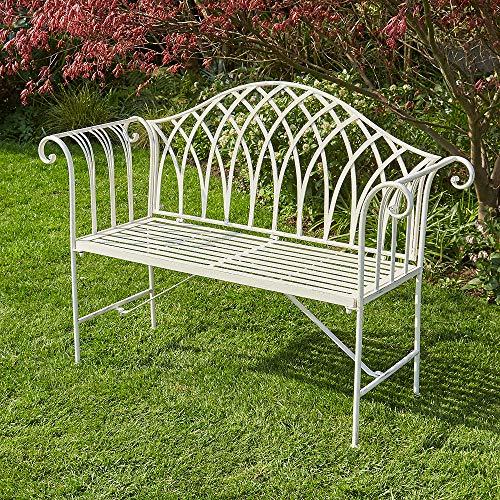 BFW Willow Cream Garden Bench Metal 2 Seater Patio Chair