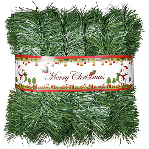 Lvydec 32.8ft Artificial Christmas Garland Decoration, Unlit Pine Garland Soft Greenery Garland for Holiday Party Decoration, Outdoor/Indoor Use