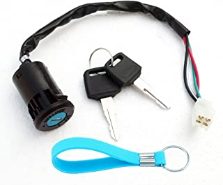 QAZAKY Ignition Key Switch Replacement for ATV Quad Scooter Go Kart Moped Buggy Pocket Mini Dirt Bike 50cc 70cc 90cc 110cc 125cc 150cc 250cc TaoTao Sunl Buyang Roketa Kazuma AIM-EX Chinese 4Pins 4 Pin