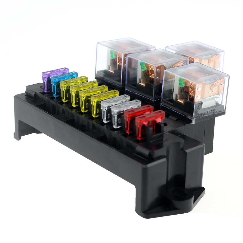 Caja de fusibles de 10 vías Caja de 5 clavijas Portafusibles de relé de base con 13 piezas Fusibles de hoja estándar universales para piezas interiores de automóviles: Amazon.es: Bricolaje y herramientas