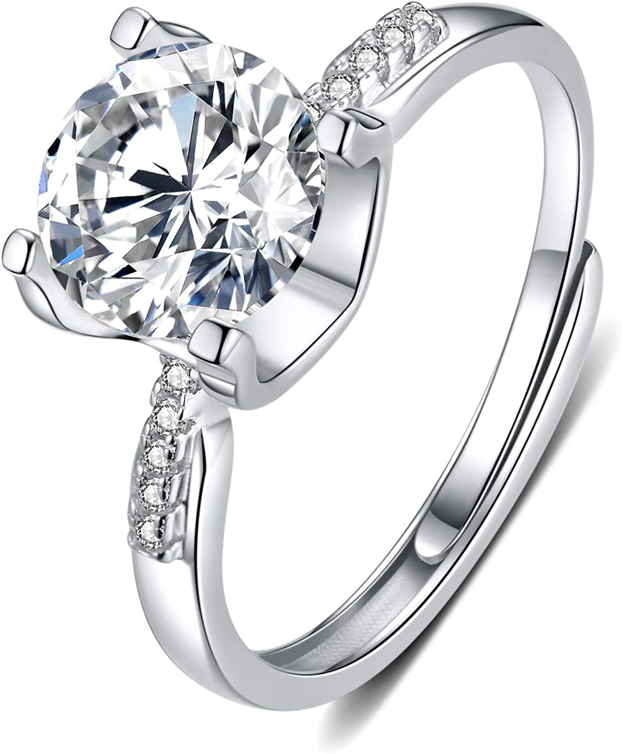 Moissanite Fresno Mall Our shop OFFers the best service Engagement Ring 2CT Center Gold Pla 4-Prong White 18K