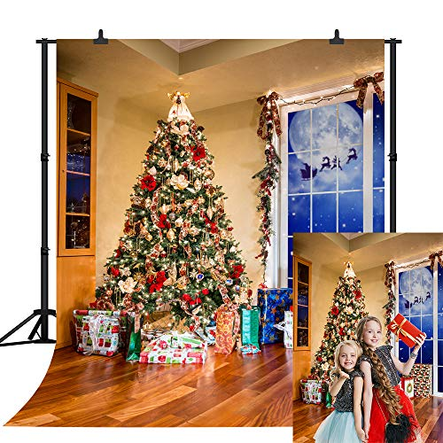 Christmas Photography Backdrop Sunny Moonlit Night Indoor Christmas Tree Gift Wooden Floor Background for Newborn Baby Child Kids Birthday Xmas Party Banner Photoshoot Backdrop 5x7FT SCO213A