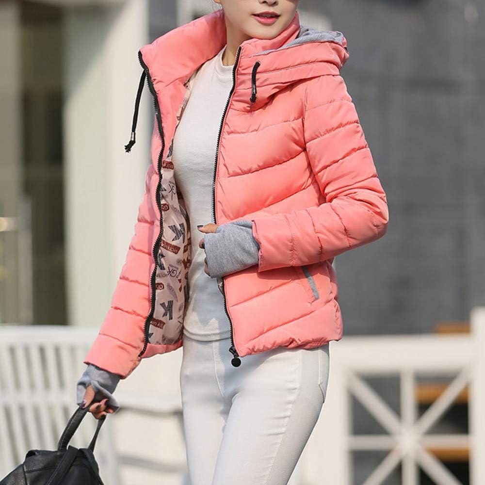 Fanxing Damen Steppjacke Dicke Oberbekleidung Kapuzenmantel Kurze Baumwolle Gefütterte Jacken Mäntel Rosa