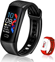 2021 Activity Fitness Tracker,Weijie Temperature Heart Rate Blood Pressure Oxygen Monitor Sleep Monitor Step Counter Calorie Counter Gift for Women and Men (Black+Red)