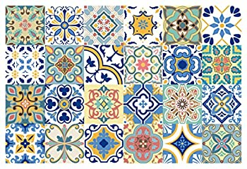 GSS Designs 24 PC Pack Traditional Mexican Talavera Tile Stickers for Bathroom & Kitchen Backsplash Decoration 4x4 Inch  10x10cm  Waterproof Removable Wall Sticker Decals TS24-005