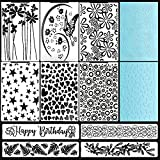10 Pieces Plastic Embossing Folders DIY Craft Template Assorted Pattern Stamp Stencil Scrapbook Photo Album Embossing Tool for Cake Card Making Scrapbooking and Other Paper Crafts 5.7 x 4.1 Inch