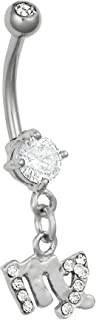 Surgical Steel CZ Jeweled Zodiac Sign Dangle Belly Button Ring