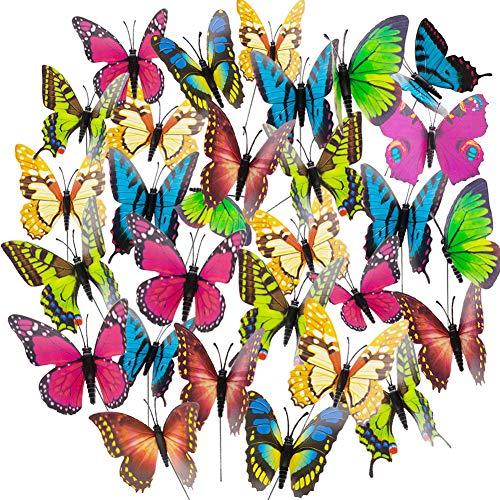 HAKACC Schmetterlinge Deko, 50 Stück Schmetterling Stange 9 cm Garten Schmetterling Ornaments, Deko Schmetterling für Garten, Terrasse, Pflanztopf, Home Dekoration