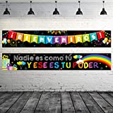 2 Pieces Bienvenidos Sign Spanish Welcome Banners Spanish Banner Inspirational Posters Spanish Motivational Banner with 40 Pieces Adhesive Dots for Toddler Kids Students Spanish Classroom Decorations