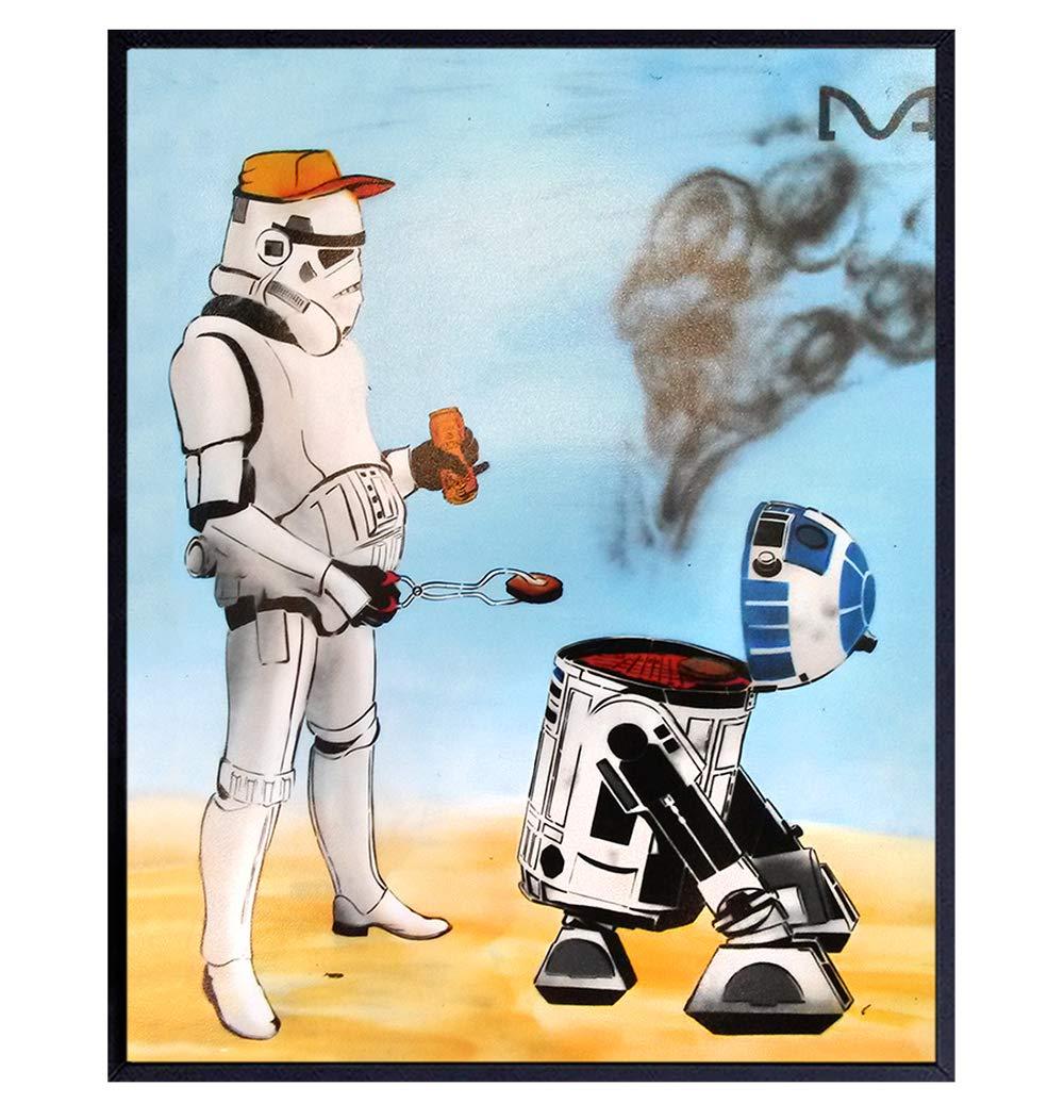 Star Wars Poster - Star Wars R2D2 Stormtrooper Room Decor - Starwars Decoration or Gift for Men, Boys, Teens - BBQ Graffiti Wall Art for Bedroom, Living Room, Dorm, Home - Cool Urban Picture Print