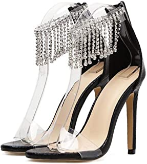 Women's PeepToe Sandals,Fashion Zipper Banquet Ladies Shoes,Summer Fish Mouth Sandal Rhinestone Buckle Stiletto Sandals