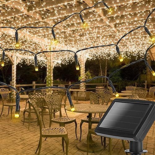 Aigostar Solar Lichterkette Warmweiß, 100 LED Lichter Solarbetrieben Wasserdicht 11,9m, Innen & Außendekoration für Tannenbaum, Balkon, Garten, Hochzeit, Party, Weihnachten