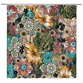 Boho Floral Shower Curtain Fancy Blossom Botanical Herbs Vintage Chic Bohemian Folk Art Ethnic Exotic Print Fabric Bathroom Decor,Hooks Included 70  WX70 H