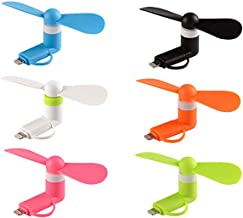 Mini Cell Phone Fan - Colorful and Powerful 2-in-1 Fan for iPhone/iPad/Android Smartphone/Tablet - Cell Phone Summer Accessories - (6-Pack)