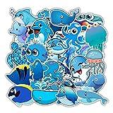 MYOMY Sticker Blue Ocean Cartoon Animal Graffiti Waterproof Guitar Skateboard Suitcase Cute Sticker 49 Pcs