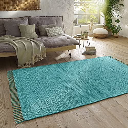 Taracarpet Handwebteppich Läufer Fleckerl Teppich Uni waschbar aus Baumwolle für Wohnzimmer und Küchenteppich 060x120 cm türkis